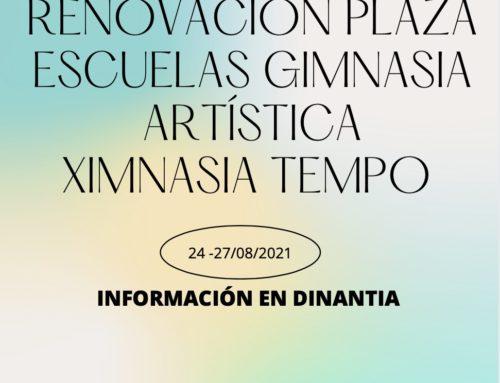 DISPONIBLE RENOVACIÓN DE PLAZA ESCUELAS 2021/22